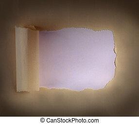 papier, verpakken, bruine