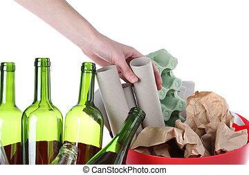 papier, verre, déchets