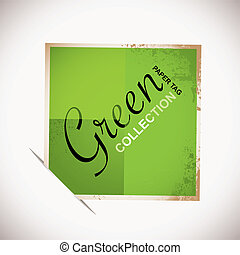 papier, vert, étiquette