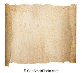 papier, vide, vieillissement, déchiré, déroulé