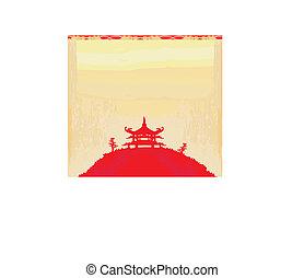 papier, vieux, asiatique, paysage