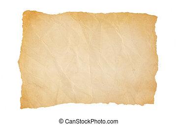 papier, vieux, bords, chiffonné, jaunir, déchiré
