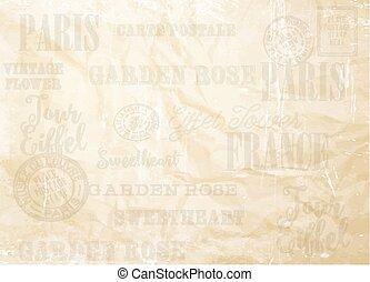 papier, vieux, card.