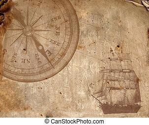 papier, vieux, compas