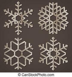 papier, vieux, flocons neige