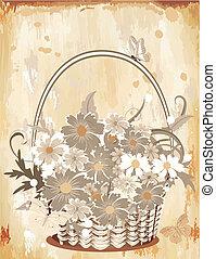 papier, vieux, flowers2