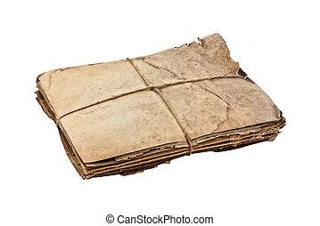 papier, vieux, paquet, attaché, ficelle