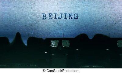 papier, vieux, typewriter., feuille, mots, beijing, vendange...