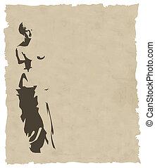 papier, vieux, vénus, vecteur, silhouette