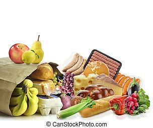 papier, voedingsmiddelen, zak