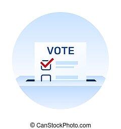 papier, vote, day., vote, élection, icon.