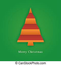 papier, vouw, gemaakt, boompje, kerstmis