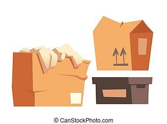 papier, vracht, set, dozen, karton, containers