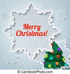 papier, vrolijk, kaart, nieuw, -, uit, kerstmis, groet, sneeuwvlok, knippen, dennenboom, jaar, kerstmis