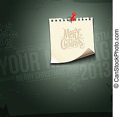 papier, vrolijk, kerstmis., aantekening