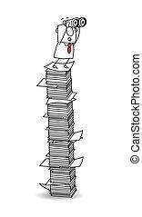 papier, vue, pile, point