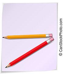 papier, wektor, pencil., woluta