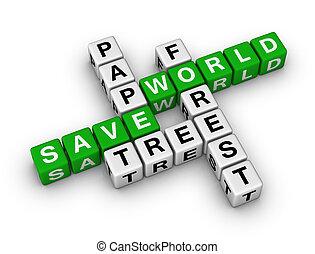 papier, wereld, sparen