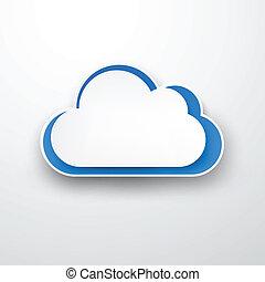 papier, white-blue, wolke, auf, white.