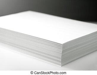 papier, witte , printer, kopieerapparaat, stapel