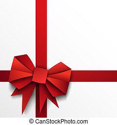 papier, wstążka, czerwony, łuk daru