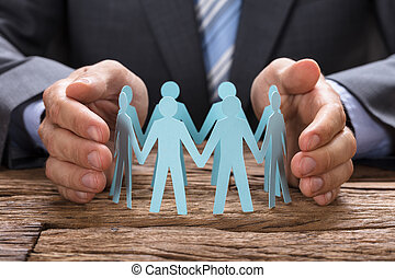 papier, zakenman, team, hands dekkend