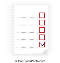 papier, zamknięcie, checkbox, notatnik, do góry