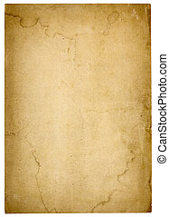 papier, zeer, oud, leeg, bevlekte