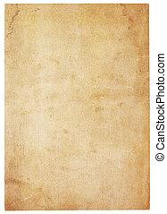 papier, zeer, oud, leeg, water-gekleurd