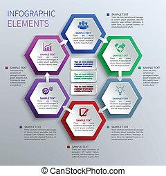 papier, zeshoeken, infographics