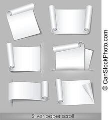 papier, zilver, boekrol