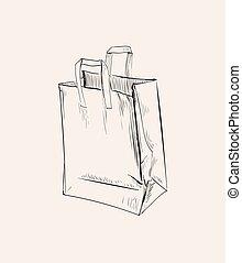 papier, zmięty, ilustracja, wektor, torba na zakupy