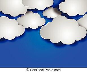 papier, zwevend, wolken, achtergrond