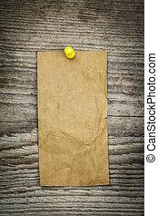 papieraantekening, op, een, oud, houten raad