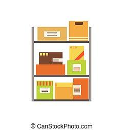 papierbuchsbaum, pakete, angehäuft, in, der, lager , gelagert, für, later, sendung, und, auslieferung, auf, metall, regale