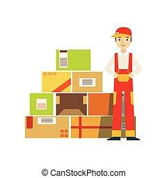 papierbuchsbaum, pakete, oben angehäuft, in, lager , mit, a, auslieferung, firma, arbeiter, stehende , nächste, in, rotes , latzhose, uniform
