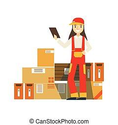 papierbuchsbaum, pakete, oben angehäuft, in, lager , mit, a, auslieferung, firma, arbeiter, stehende , nächste, prüfung, ihm, mit, prüfen liste