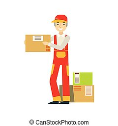 papierbuchsbaum, pakete, oben angehäuft, in, lager , mit, a, auslieferung, firma, arbeiter, schiffahrt, der, aufträge