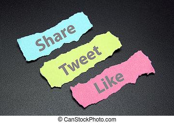 papieren, afgescheurde, zoals, media, tweet, aandeel, maatschappelijke diensten