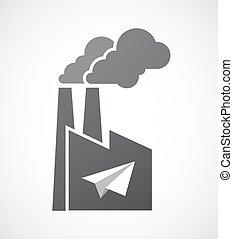 papieren vliegtuig, vrijstaand, fabriek