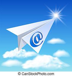 papierflieger, mit, e-mail, zeichen
