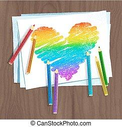 papierherz, regenbogen, farbe, bleistifte, gefärbt