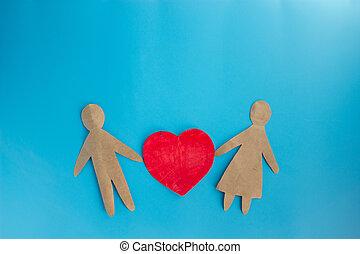 papierleute, zusammen, liebe