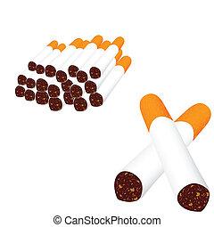 papierosy, białe tło