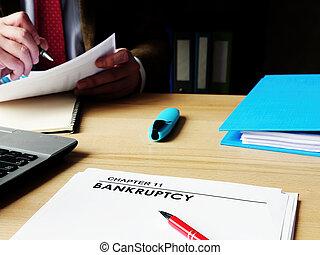 papiers, 11, directeur, faillite, chapitre, desk.