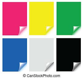 papiers, autocollants, coloré
