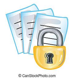 papiers, confidentiel, icône