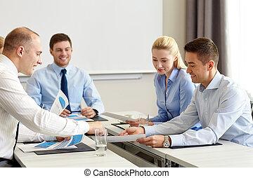 papiers, réunion, bureau affaires, gens