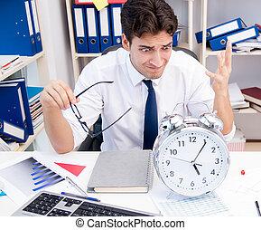 papiers, tas, bureau, homme affaires, livres, fonctionnement