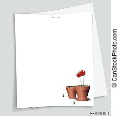 papiery, illustration., message., wektor, gotowy, biały, ...